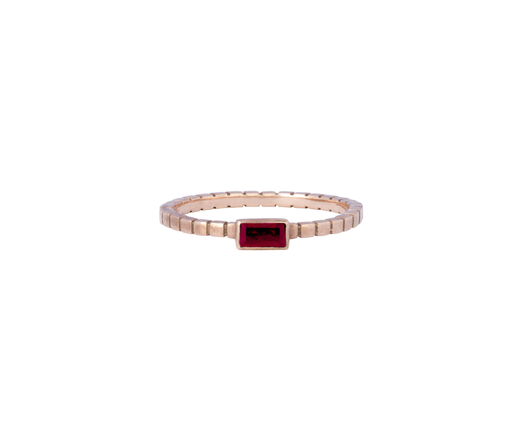 Cube Ring - Rose Gold and Ruby - Charlotte Valkeniers Design Ltd