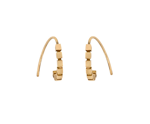 Cube Hoops - yellow gold