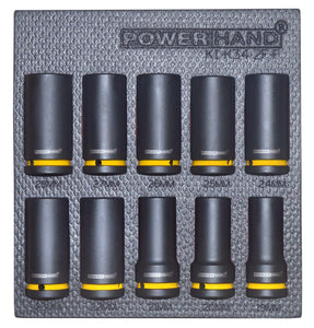 "POWERHAND 3/4"" DEEP IMPACT SOCKET SET ON RAIL 19-36MM"