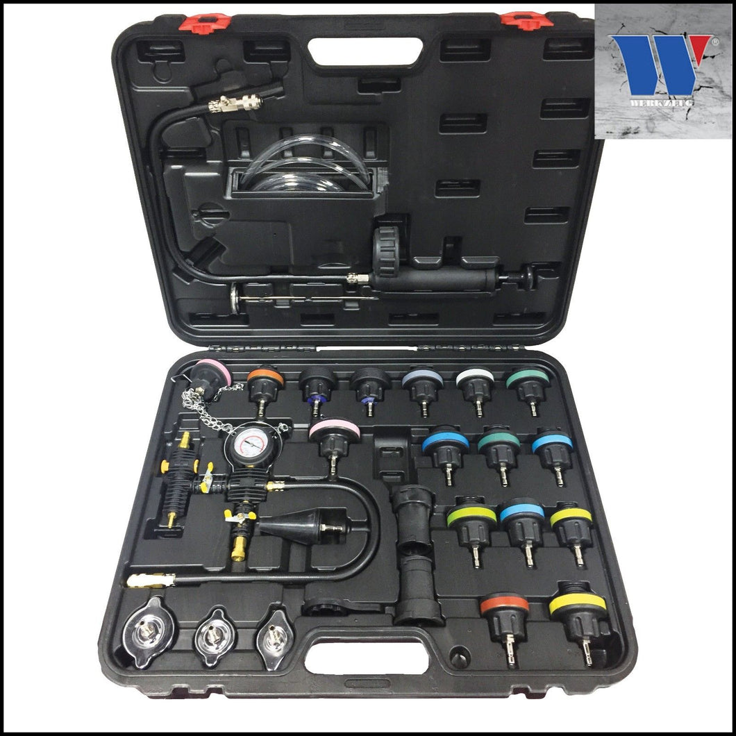 Radiator & Cooling System Pressure Tester Set 24 Pc - M-Tool Workshop Supplies