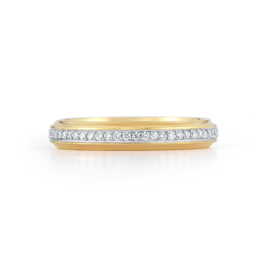 Wildflower Fluted Pave Wedding Band
