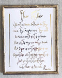 Our Father Prayer Foil Print Unframed