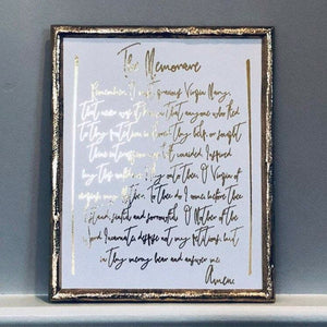 The Memorare Prayer Foil Print Unframed