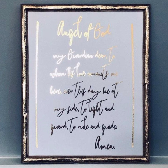 Guardian Angel Prayer Foil Print Unframed