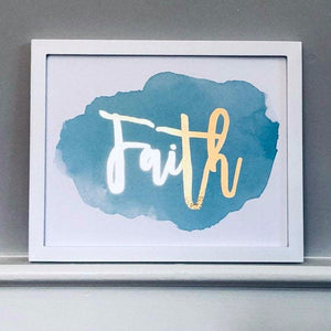 Blue Faith Foil Print Unframed