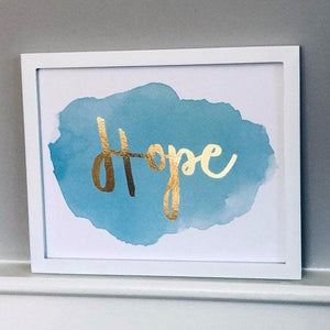 Blue Hope Foil Print Unframed