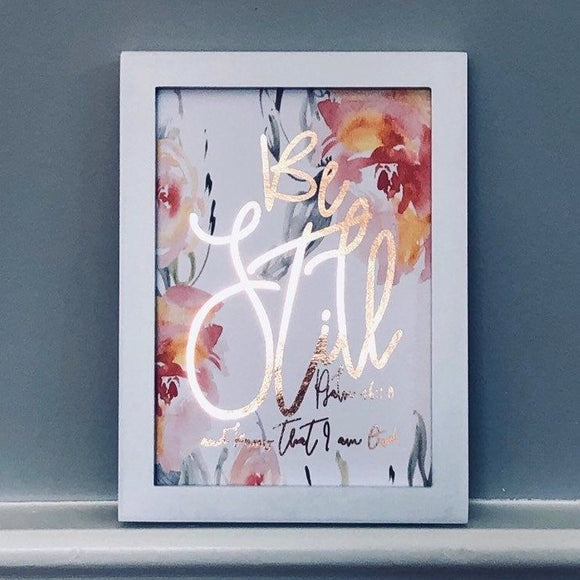 Be Still and Know Floral Foil Print