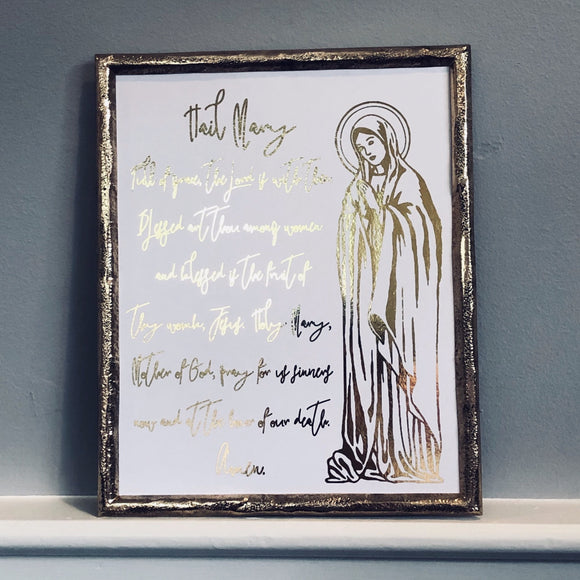 Hail Mary Prayer with Blessed Virgin Print