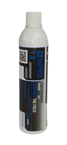 Nuprol 1.0 premium Blue Gas - for low powered airsoft guns such as Tokyo marui