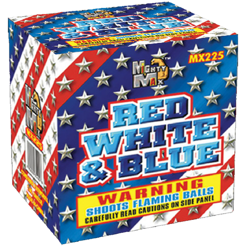 Red White & Blue | 200 Gram Cake | Mighty Max Fireworks
