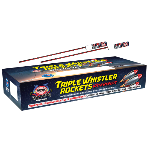 Triple Whistler Rocket w/ Report | Bottle Rockets | Sky Bacon Fireworks