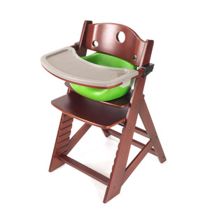 Height Right High Chair with Infant Insert, Tray & Tray Cover Mahogany - Lime