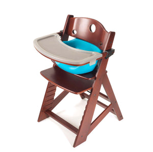 Height Right High Chair with Infant Insert, Tray & Tray Cover Mahogany - Aqua