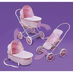 Pink Gingham 3-in-1 Doll Pram, Carrier, and Stroller