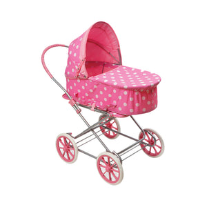 3-in-1 Doll Pram, Carrier, and Stroller - Pink Polka Dots