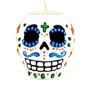 Day Of The Dead Male Tea Light Holder 6 Oz - 6 Pack