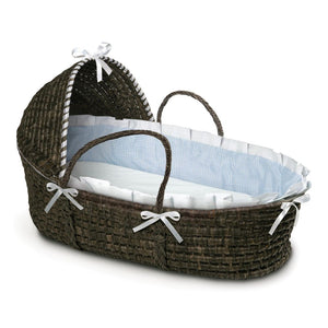 Badger Basket Nursery Baby  Espresso Moses Basket with Hood Blue Gingham Bedding