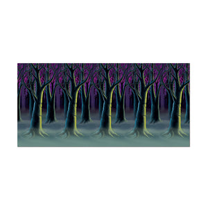 Beistle Halloween Party Decoration Spooky Forest Trees Backdrop 4' x 30'- Pack of 6