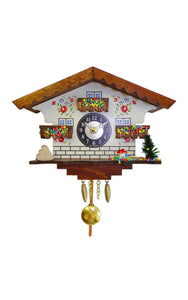 "Alexander Taron 0183QP Engstler Battery-Operated Clock - Mini Size with Music/Chimes - 5.75"" H x 7"" W x 3.25"" D, Gray"