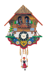 "Alexander Taron 0193SQT Engstler Battery-Operated Clock - Mini Size with Music/Chimes - 7.5"" H x 7"" W x 3"" D, White"
