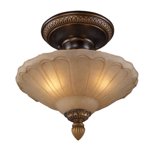 Elk Lighting 08092-AGB-LA Restoration 3 Light Antique Golden Bronze-Includes Adapter Kit Semi Flush Mount