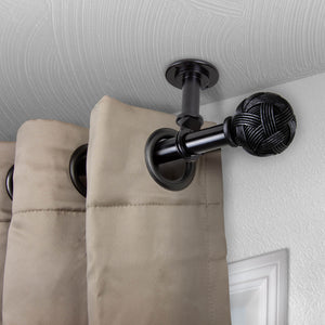 "Twine Ceiling Curtain Rod/ Room Divider 1"" OD - Black"