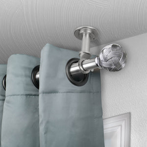 "Twine Ceiling Curtain Rod/ Room Divider 1"" OD - Satin Nickel"