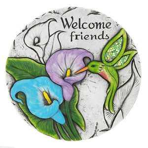 Summerfield Terrace Welcome Friends Hummingbird Design Decorative Stepping Stone - Cement