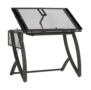 "SD STUDIO DESIGNS Futura Luxe Drawing, Drafting, Craft Table with Drawer, 35"" Wide Angle Adjustable Top and Side Shelf, Pewter Grey/Clear Glass"