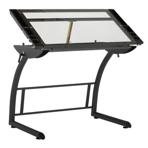 "SD STUDIO DESIGNS Triflex Drawing Table, Sit to Stand Up Adjustable Office Home Computer Desk, 35.25"" W X 23.5"" D, Charcoal Black/Clear Glass"