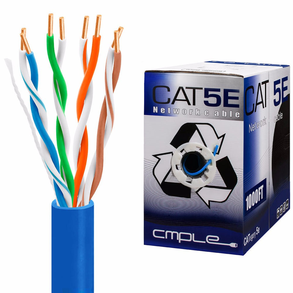 CAT5E Bulk Ethernet Lan Network Cable - 1000 Ft Blue
