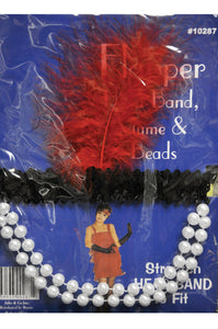 Seasons Best Halloween Flapper Headpiece Red Feather