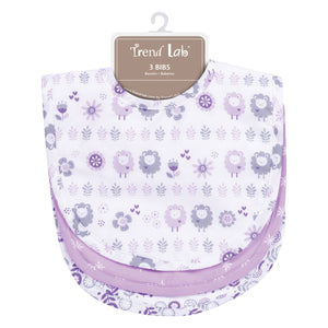 Trend Lab Lambs and Flowers 3 Pack Bib Set