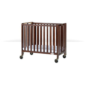 "Compact HideAway EasyRoll Folding Fixed-Side Crib, Slatted w/ 4"" Casters Antique Cherry"