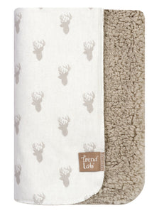 Trend Lab Gray Stag Head Flannel and Faux Shearling Blanket