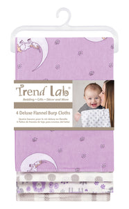 Trend Lab Llamas and Unicorns 4 Pack Flannel Burp Cloth Set