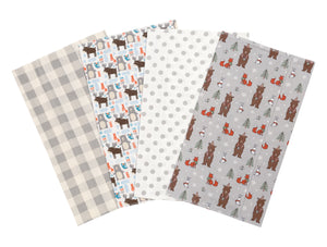 Trend Lab Scandi Cocoa 4 Pack Flannel Burp Cloth Set