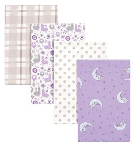 Trend-Lab Llamas and Unicorns 4 Pack Flannel Blankets