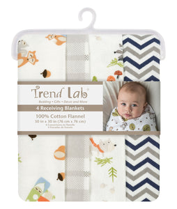 Trend Lab Woodsy Gnomes 4 Pack Flannel Blankets