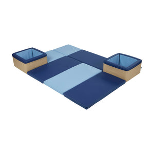 FDP SoftScape Floor and Store Activity Mat for Infants, Babies and Toddlers Tummy Time, Soft Play and Toy Storage - Navy/Powder Blue