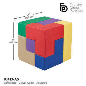 FDP SoftScape Clever Cube 3D Oversized Puzzle, Fun Foam Motor and Cognitive Development Toy for Toddlers and Kids, 2 Foot Cube (7-Piece Set) - Assorted