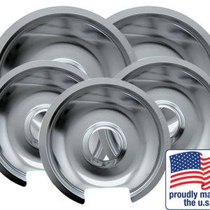 "Drip Pan Chrome 3 Small / 6"" & 2 Large / 8"", 5 Pk"
