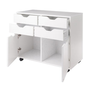 Winsome Wood Contemporary Home Office Halifax 2 Section Mobile Storage Cabinet, White