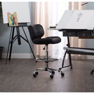 Black Crest Drafting Chair In Chrome / Black