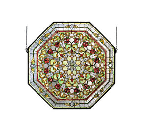 "Meyda Home Decorative 35""W x 35""H Front Hall Floral Stained Window Glass -107225"
