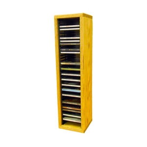 Cdracks Media Furniture Solid Oak Tower for CD Capacity 40 CD's Honey Finish (Individual Locking Slots)