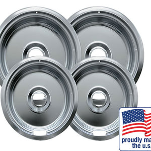 "Drip Bowl Chrome 2 Small / 6\\\"" & 2 Large / 8\\\\\\\"", 4 Pk"