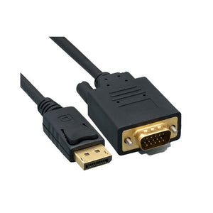CableWholesale Black DisplayPort Male to VGA Male Cable, 15 Feet - Connects DisplayPort Devices to Older VGA Monitors