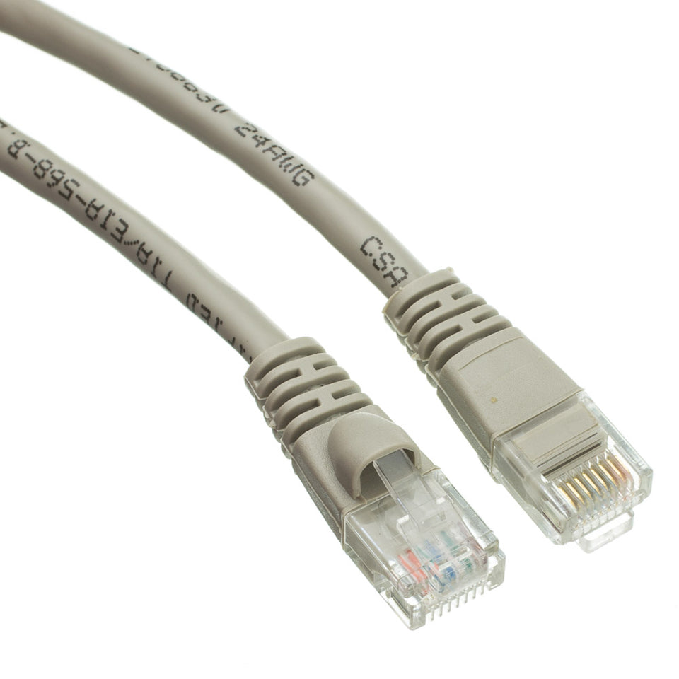 Cat5e Gray Ethernet Patch Cable, Snagless/Molded Boot, 35 foot