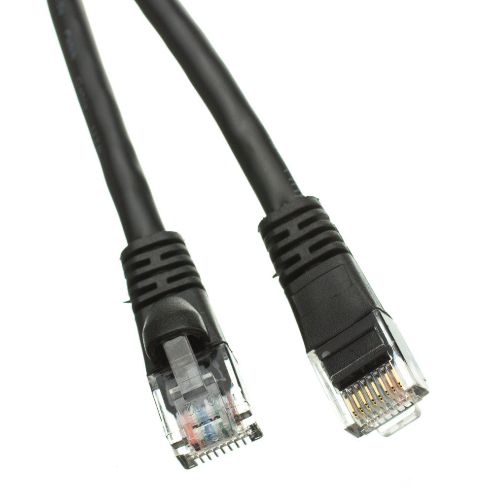 Cat5e Black Ethernet Patch Cable, Snagless/Molded Boot, 25 foot
